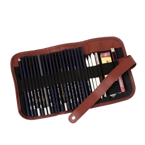 1PC Retro Canvas Artists Pencil Case 24 holes roll brush pen pouch for artist students Makeup office school bag