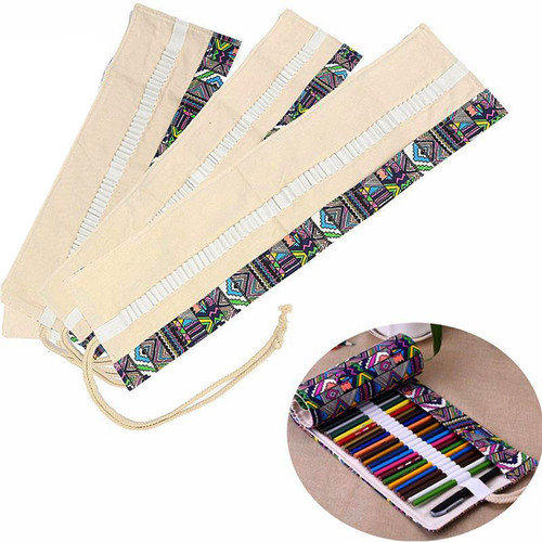 36/48/72 Ethnic Wind Professional Cosmetic Brush Bag Pen Bag Roll Pouch Printing Pencil Case Canvas Cosmetic Make Up Bag 1STL