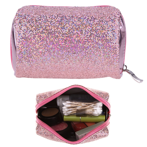 Sequins Portable Cosmetic Bag Multifunction Toiletry Organizer Zipper Makeup Bag Women Makeup Pouch Bling Toiletry Organizer