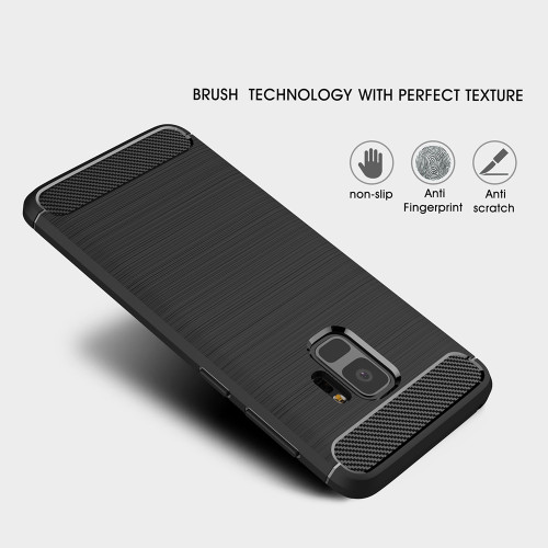 Tomkas Case For Samsung Galaxy S9 Case Luxury Slim Soft Silicone Back Cover For Samsung Galaxy S9 Plus Case Brushed Carbon Fiber