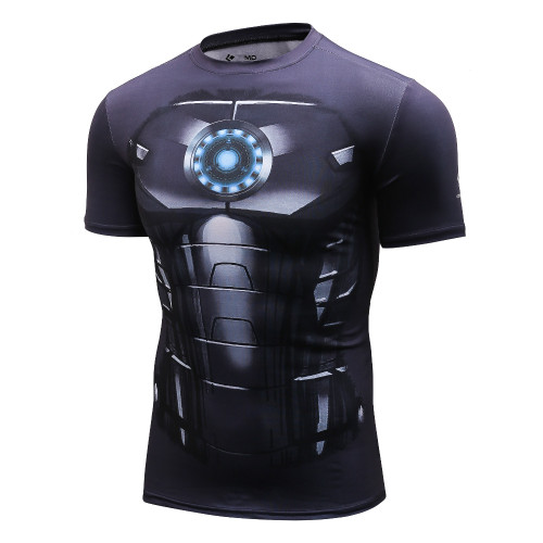 High Quality 2017  Marvel Captain America 3 Iron man 3d Super Hero Jersey Short Sleeves Camisetas T Shirt Men Tight t-shirts