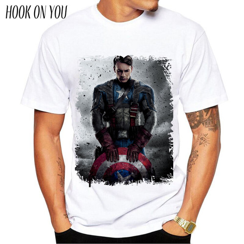 2017 New Brand Marvel Comics superhero print T-Shirt men tops tees deadpool Spider-Man Casual tshirt t shirts Captain America
