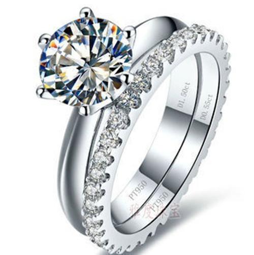 Luxury quality 2 Carat SONA synthetic stone wedding ring set,bridal set, engagement ring set for women,Wholesale Drop Shipping