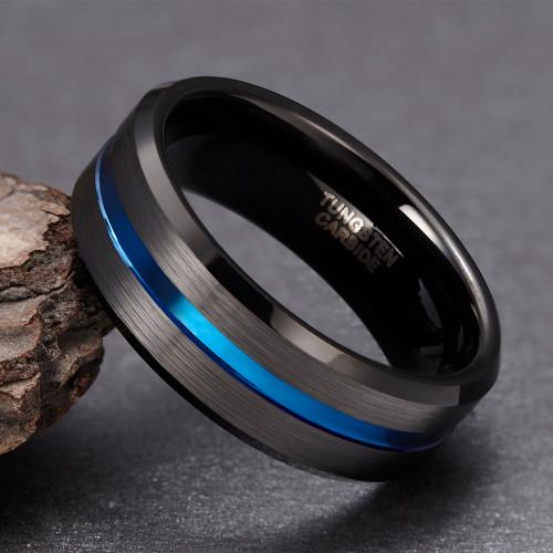 Somen 8mm Blue Line Men Tungsten Carbide Ring Male Engagement Wedding Rings Fashion Jewelry Masonic Rings Wholesale Drop Shiping
