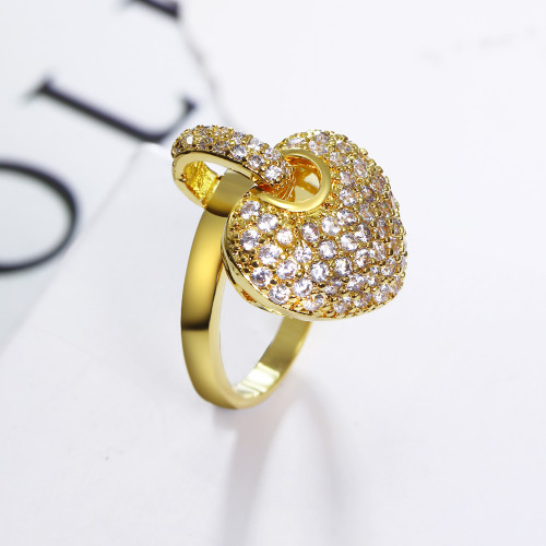 DreamCarnival 1989 Women Sweet Heart Charms Zircon Paved Rhodium Gold-color Wedding Jewelry Love Anel Engagement Rings SJ14391