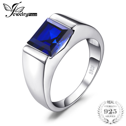 JewelryPalace Men's Square 3.3ct Created Blue Sapphire Engagement Ring Solid 925 Sterling Sliver 2018 New Promotion Man Ring