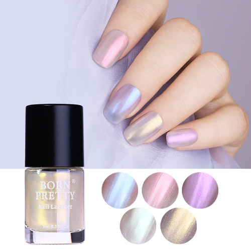 BORN PRETTY 9ml Shell Glimmer Nail Polish Shiny Transparent Glitter Nail Lacquer Varnish Color Polish