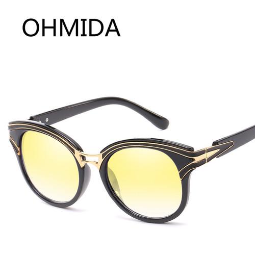 OHMIDA New Fashion Sunglasses Women Cat Eye UV400 Brand Plastic Women's Sun Glasses Blue Mirror Vintage Retro Sunglassses Female