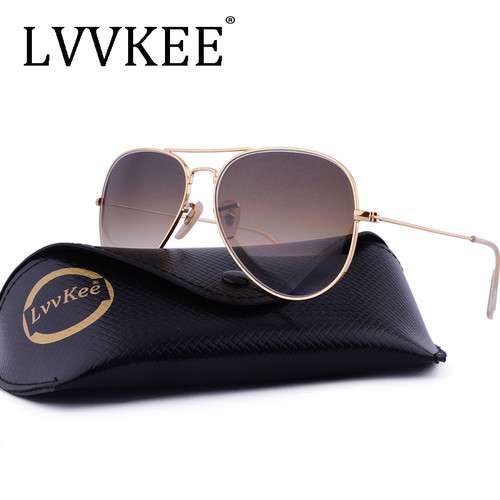 Classic brand Glass Lenses 3025 Aviator sunglasses men/women brown Gradient G15 sunglass Gafas oculos de sol masculino rays