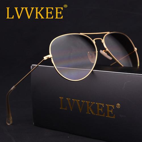 LVVKEE brand Glass Lenses Aviator Sunglasses Men Women 58mm Gradient G15 Mirror Sun glasses lunette de soleil femme homme rays