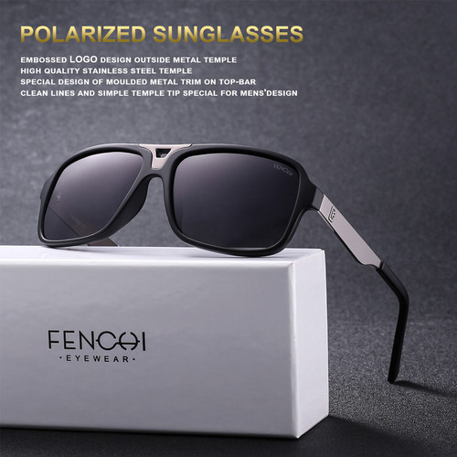 FENCHI Design Sunglasses Men Polarized Square Retro New Driving Vintage Fashion Fishing Oculos De Sol Sun glasses