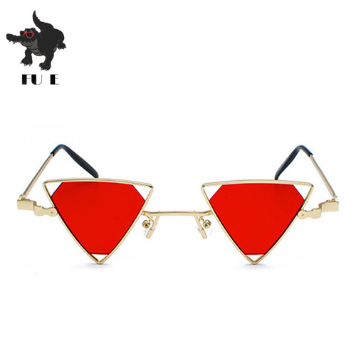 FU E 2018 sunglasses new fashion ladies punk sunglasses Ma'am triangle hollow metal frame sunglasses men UV400 sunglasses