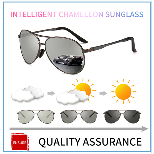 2018 Pilot Photochromic Sunglasses Men Driving Polarized Sun Glasses Chameleon Driver Safety Night Vision Goggles Glasses UV400
