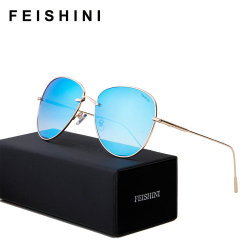 FEISHINI Brand Metal Pilot Men Sunglasses Aviators Unisex Brand Design HD Mirror 2018 Fashion Trendy Women Sunglass UVB Gradient