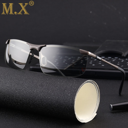 2018 brand Photochromic Sunglasses Men Polarized Chameleon Discoloration Sun glasses for men fashion rimless square sunglasses