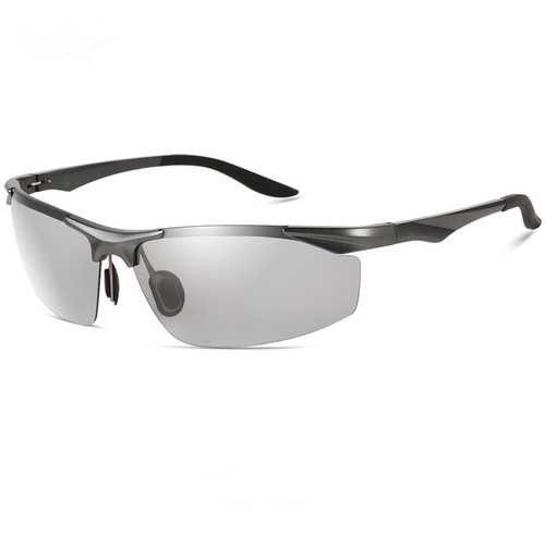 2018 new fashion photochromic HD Polarized men sunglasses aluminium magnesium frame driving fishing sports anti UV glasses OEM