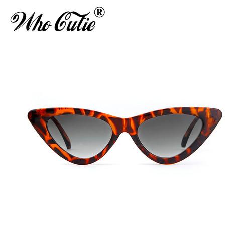 WHO CUTIE 2018 Women Cat Eye Sunglasses UV400 Small Narrow Lens Vintage Tortoise Shell Frame Cateye Sun Glasses Retro Shades 509