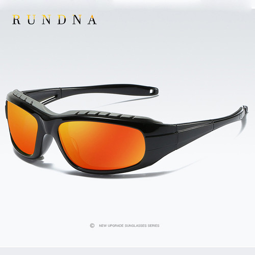 Rundna Wind-Proof Polarized Sport Sunglasses Outdoor Cycling Bike Riding Ski Goggles Flash Red Mirrored Running Golf Sunglasses