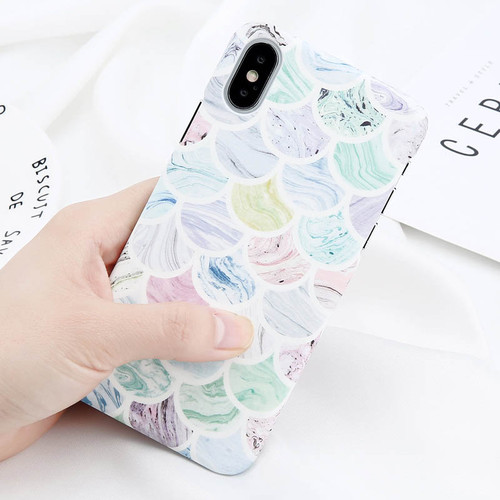 USLION Colorful Fish Scales Print Phone Case For iPhone 6 6s Plus Green Leaves Cases Hard PC Back Cover For iPhone X 8 7 6S Plus