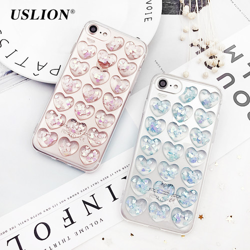 USLION Glitter 3D Love Heart Phone Case For iPhone 7 Plus Transparent Cases Soft TPU Clear Back Cover For iPhone X 6 6S 7 8 Plus