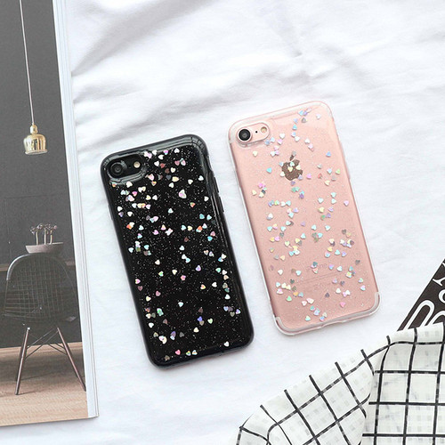 For iPhone 6 Case Glitter Love Heart Star Clear Case For iPhone X 6 S 7 8 Plus Bling Silicon Back Cover Soft TPU Capa
