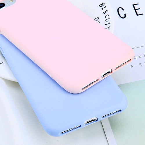 USLION Simple Candy Color Plain Phone Case For iPhone 6 6S Plus Soft TPU Silicon Full Back Cover For iPhone 8 7 Plus Cases Capa