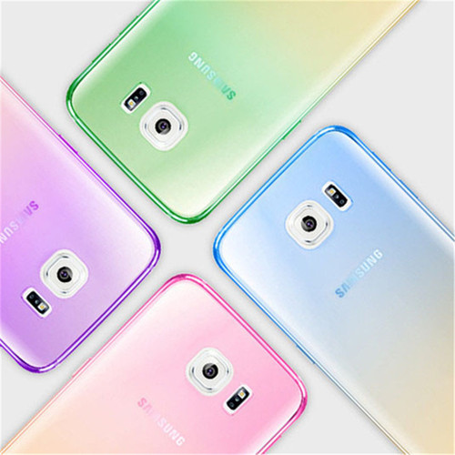 Fashion Soft TPU Gradient Color Back Cover Case for Samsung Galaxy A3 A5 A7 2016 J3 J5 J7 S4 S5 S6 S7 Edge S8 iPhone 5S 6 7 Plus