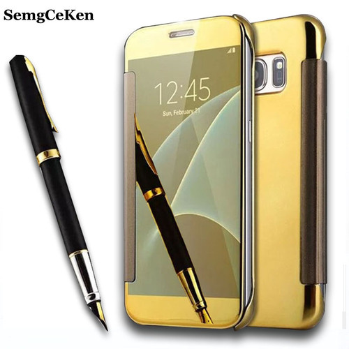 SemgCeKen luxury original mirror clear view case for samsung galaxy s7 s 7 / s7 edge s7edge flip leather smart gold cover coque