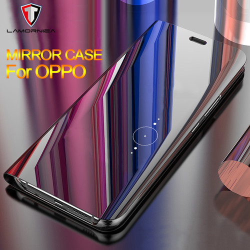 Lamorniea For VIVO X20 Plus V9 Y85 Flip Case Plating Mirror Clear Awaken Stand Phone Cover For OPPO R11 Plus F7 R15 Standard A71