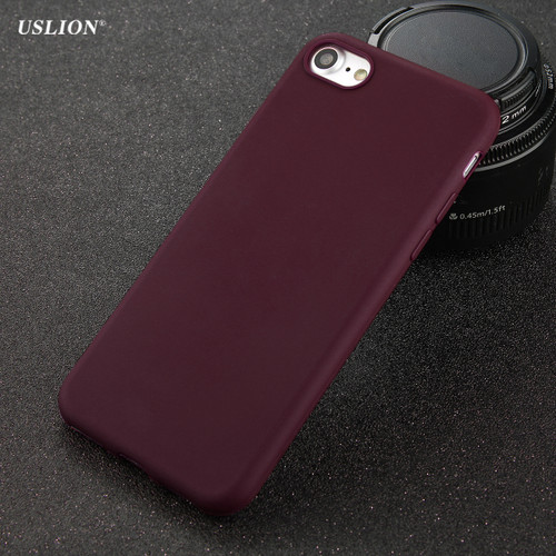 USLION Phone Case For iPhone 7 6 6s 8 X Plus 5 5s SE Simple Solid Color Ultrathin Soft TPU Cases Fashion Candy Color Back Cover