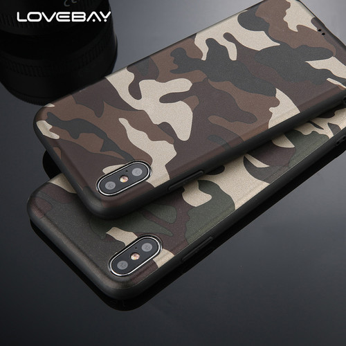 Lovebay Army Green Camouflage Case For iPhone X For iPhone 6 6S 7 8 Plus Soft TPU Silicon Phone Cases Back Cover For iPhone7