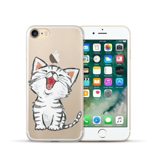 "BIGCHEN TPU Case For iPhone 7 8 4.7"" Cute Cartoon Cat Soft Silicone Cases Cover for iPhone 7 8 Plus 5.5"" X Phone Back Fundas"