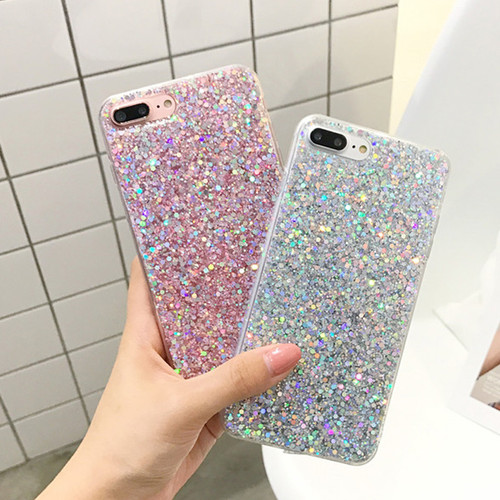 Candy Shining Powder Sequins Phone Cases For iPhone X 8 7 6 6S Plus Case Soft Silicone Glitter Back Cover For iPhone 5s SE Capa