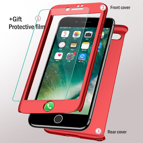 H&A 360 Full Cover Protective Case For iPhone 7 6 6s 8 Plus Cases With Tempered Glass Cover For iPhone 8 6 7 Plus Phone Bag Case