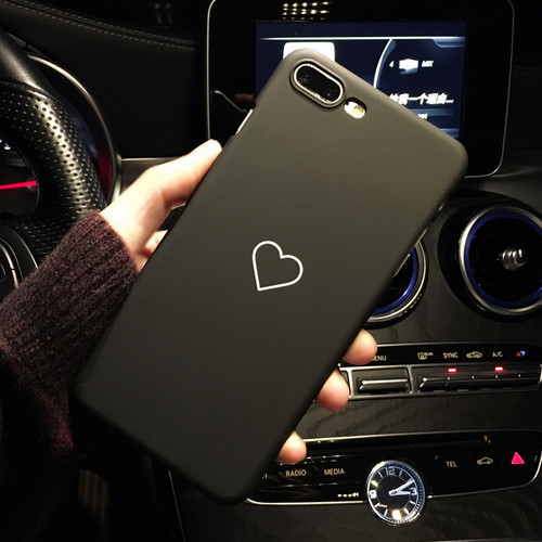 Black Love Heart Phone Case for iPhone X Cases Fashion Candy Color Hard PC Back Cover for iPhone 5 5S SE 6 6S 7 8 Plus Case