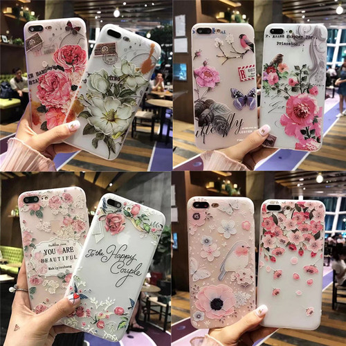 NFH Fashion 3D White Flower Paint Phone Case sFor iPhone 8 X Vintage Soft TPU Back Cover Cases Coque For iPhone7 8 6 6s Plus 5s