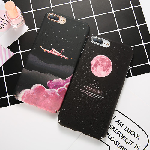 KISSCASE Matte Case For iPhone 6 6S 7 plus Coque Aircraft Moon Starry Sky Hard PC Cover For iPhone SE 5S 5 X Phone Case capinhas