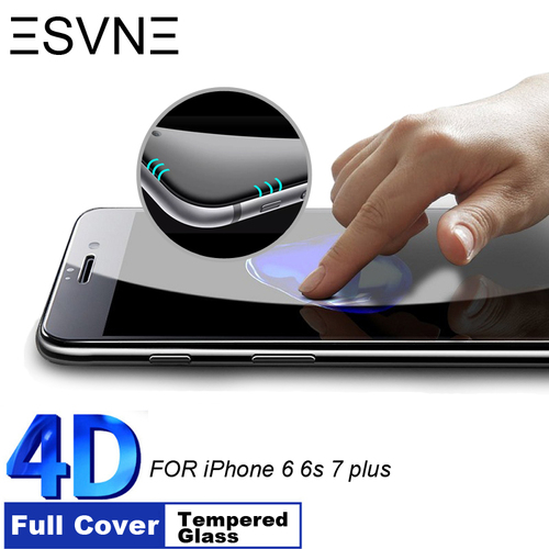 ESVNE 9H Hardness 4D Curved Edge Full Cover Tempered Glass for iphone 6 glass iPhone 7 Glass 6s 7 plus Screen Protector film