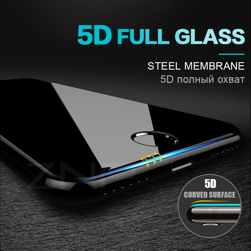 ZNP Protective Glass on the For iPhone 6 6S Plus Tempered Screen Protector 5D Curved Edge Glass For iPhone 8 7 Plus X Film