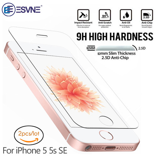 ESVNE (2 pcs/lot)0.26mm 2.5D Protective Glass For iPhone se glass iPhone 5s glass 5 Screen Protector On Tempered Glass Film