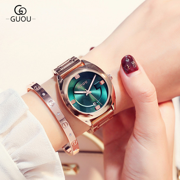GUOU Watch Women Top Luxury Steel Bracelet Auto Date Women Watches Fashion Exquisite Ladies saat relogio feminino reloj mujer