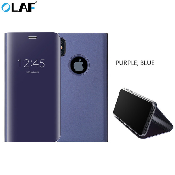 OLAF For Apple iPhone 6 6s 7 8 Plus X 10 Case Luxury Flip Stand Clear View Smart Mirror Phone Cover For iPhone X 8 7 6s 6 Case