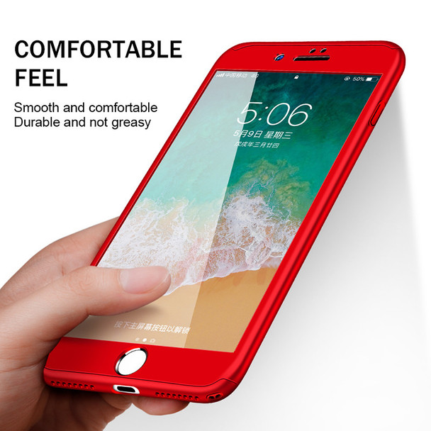H&A Luxury 360 Degree Full Cover Protective Case For iPhone 7 6 6s 8 Plus Phone Cover For iPhone 8 6 7 Plus Case Tempered Glass