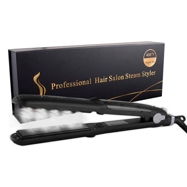 Professional Steam Function Flat Iron Tourmaline Ceramic Vapor Professional Hair Straightener with Argan Oil hair Straighteners