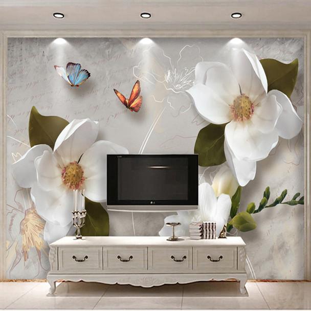 Custom Mural Wallpaper 3D Stereo Relief Flowers Butterfly Fresco Modern Simple Living Room TV Sofa Background Wall Paper For 3 D