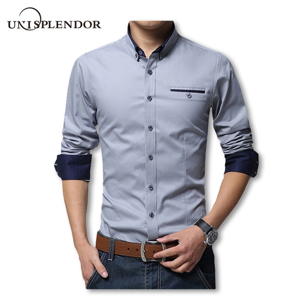 2018 New Spring Cotton Shirts Men High Quality Long Sleeve Slim Fit Shirt Pure Color Modern Casual Camisa Big Size 5XL YN270