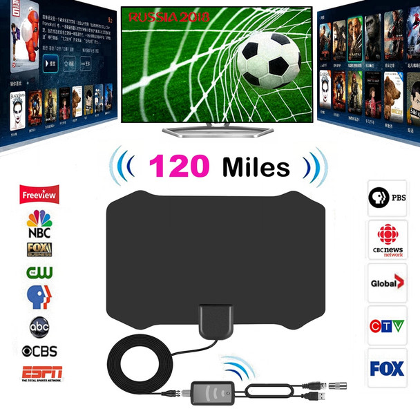 120 Miles Antena Digital HDTV Indoor TV Antenna with Amplifier Signal Booster TV Radius Surf Fox Antena HD TV Antennas Aerial