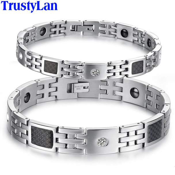 TrustyLan Black Magnetic Stainless Steel Wristband Men Bracelets Cool Power Increase Health Jewelry Womens Bracelet Accessory