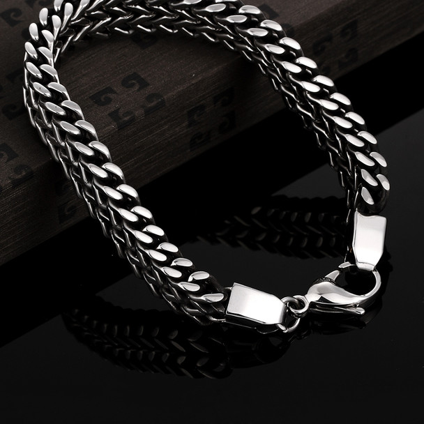 2017 mens bracelets & Bangles 5*12mm 316L Stainless Steel Wrist Band Hand Chain Jewelry Gift
