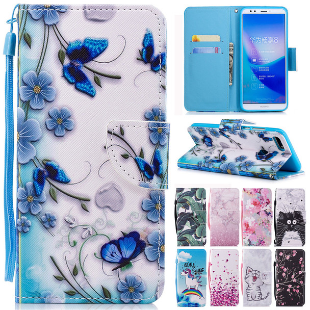 Honor 7C Pro Leather Case on for Coque Huawei Honor 7C Pro Cover for Huawei Y7 Prime 2018 Covers Wallet Flip Stand Phone Cases